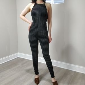 Jumpsuit pinstripes black and white cross back
